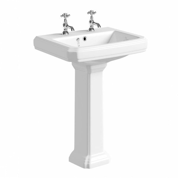 Artistic 600mm 2 Tap Hole Bathroom Basin and Pedestal