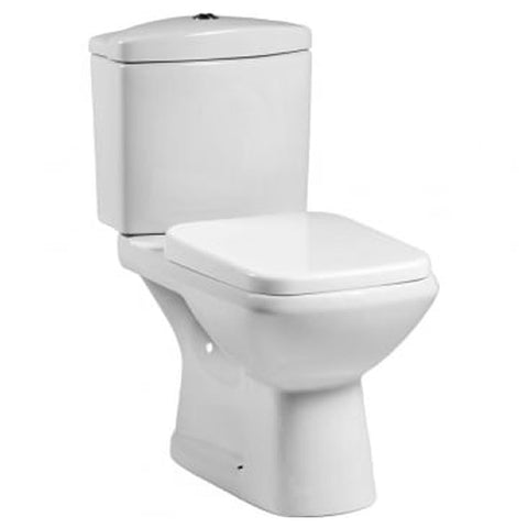 Elise Close Coupled WC Toilet Pan, Close Coupled Dual Flush Cistern and Soft Close Toilet Seat