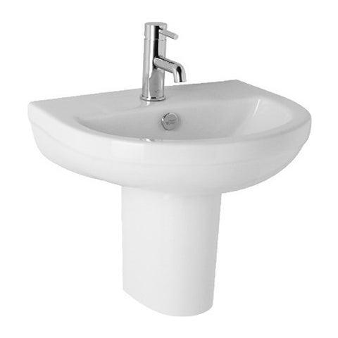 Refresh 570mm 1 Tap Hole Basin and Semi Pedestal