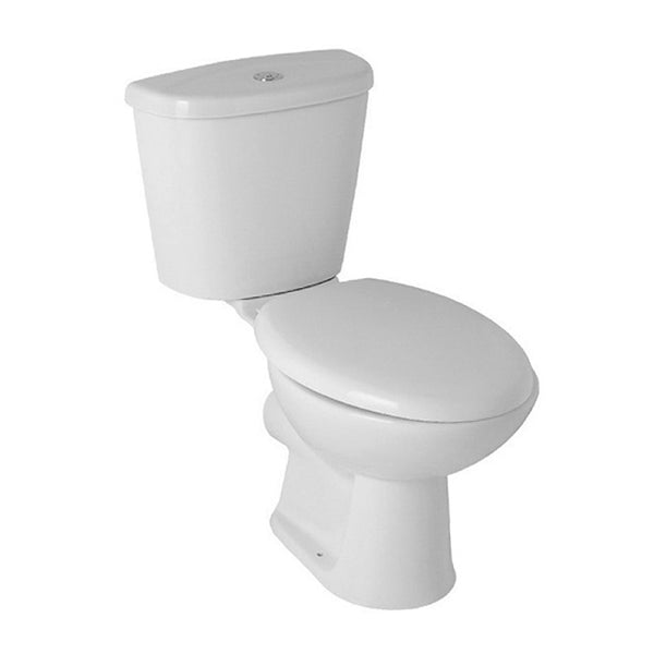 L4 Close Coupled WC Toilet Pan, Close Coupled Dual Flush Cistern and Soft Close Toilet Seat