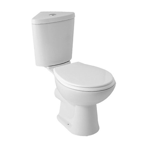 L4 Close Coupled Corner WC Toilet Pan, Close Coupled Dual Flush Cistern and Soft Close Toilet Seat