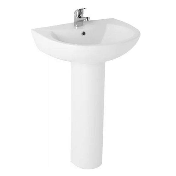 L4 545mm 1 Tap Hole Basin and Pedestal