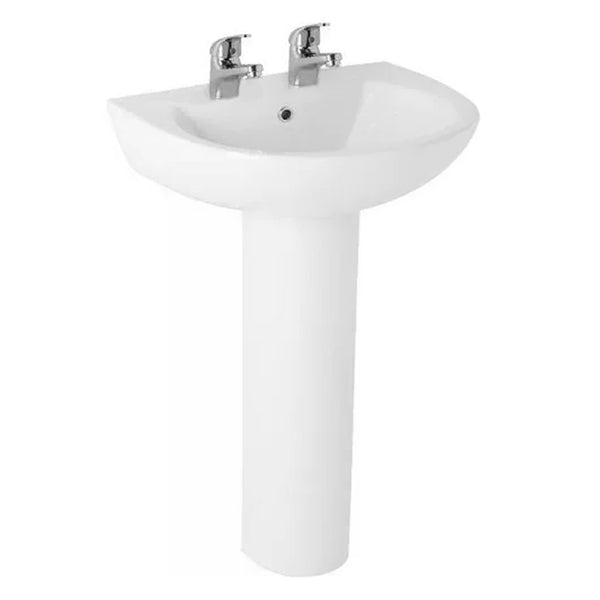 L4 545mm 2 Tap Hole Basin and Pedestal