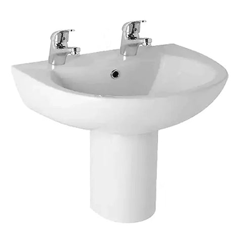 L4 545mm 2 Tap Hole Basin and Semi Pedestal