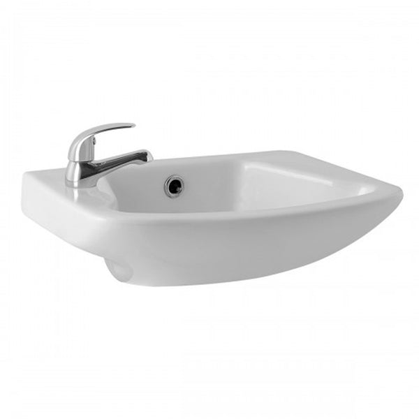 "L4 465mm Cloakroom Basin 1 Tap Hole 18""x11"""