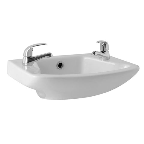 "L4 360mm Cloakroom Basin 2 Tap Hole 14""x10"""