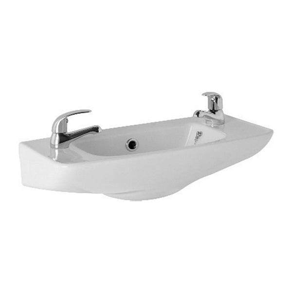 L4 510mm Cloakroom Basin 2 Tap Hole