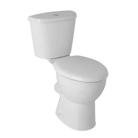 L4 Close Coupled Comfort Height WC Toilet Pan, Close Coupled Dual Flush Cistern and Soft Close Toilet Seat