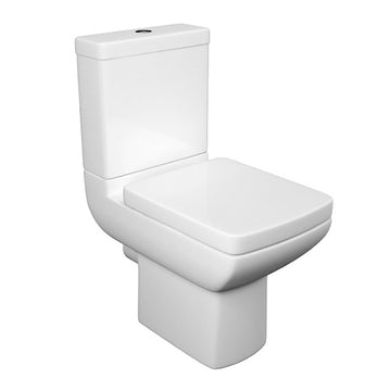 Purity Close Coupled WC Toilet Pan, Close Coupled Dual Flush Cistern and Soft Close Toilet Seat