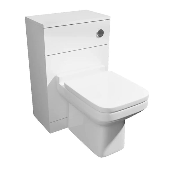 Pristine 500mm WC Toilet Bathroom Furniture Unit with Toilet Pan, Cistern and Toilet Seat - White