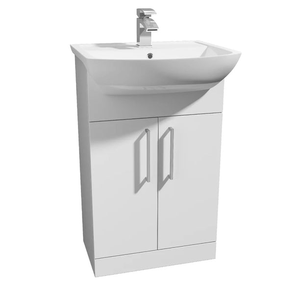 Pristine 550mm Floor Standing 2 Door Bathroom Vanity Unit and Basin - White