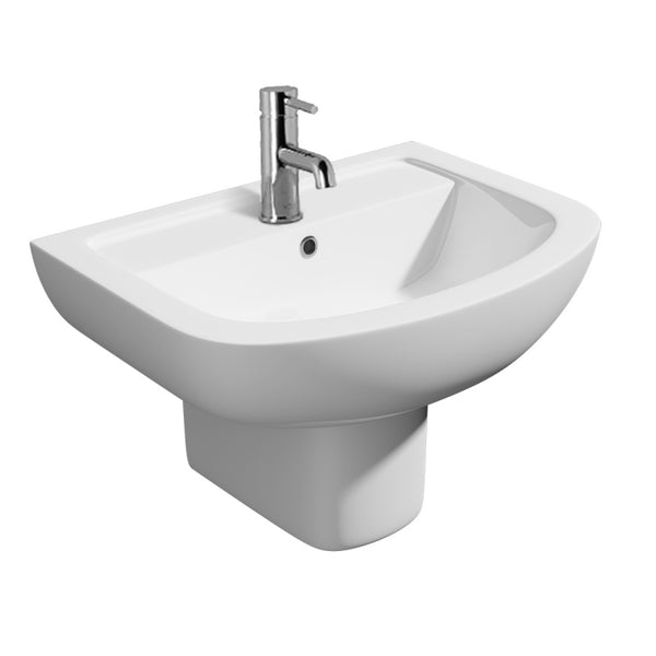 Sweet 550mm 1 Tap Hole Basin and Semi Pedestal