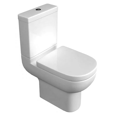 Sweet Close Coupled WC Toilet Pan, Close Coupled Dual Flush Cistern and Soft Close Toilet Seat