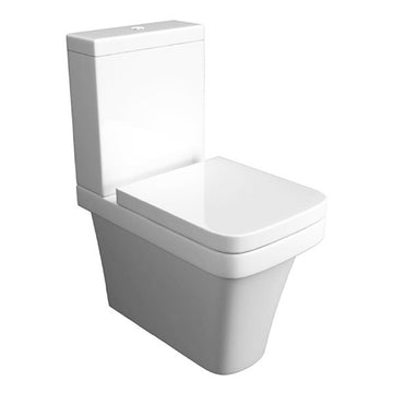 Creative Close Coupled Back To Wall WC Toilet Pan, Close Coupled Dual Flush Cistern and Soft Close Toilet Seat