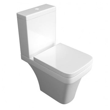 Creative Close Coupled Comfort Height WC Toilet Pan, Close Coupled Dual Flush Cistern and Soft Close Toilet Seat