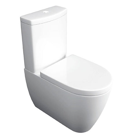 Graceful Close Coupled Back To Wall WC Toilet Pan, Close Coupled Dual Flush Cistern and Soft Close Toilet Seat