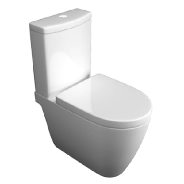 Graceful Close Coupled WC Toilet Pan, Close Coupled Dual Flush Cistern and Soft Close Toilet Seat