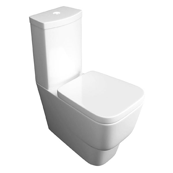Nicola Close Coupled Back To Wall WC Toilet Pan, Close Coupled Dual Flush Cistern and Soft Close Toilet Seat