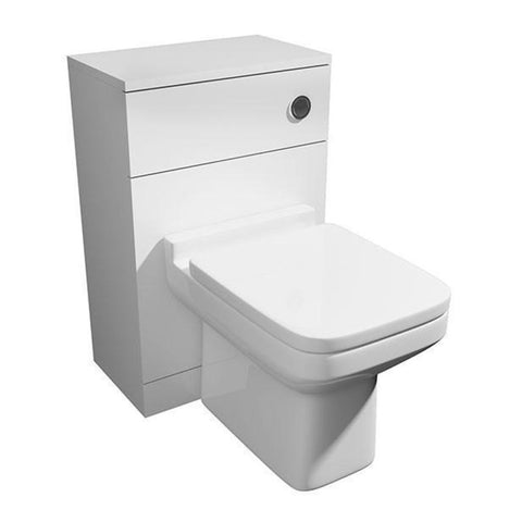 Thrive 500mm WC Toilet Bathroom Furniture Unit with Toilet Pan, Cistern and Toilet Seat - White