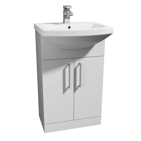 Thrive 550mm Floor Standing 2 Door Bathroom Vanity Unit and Basin - White
