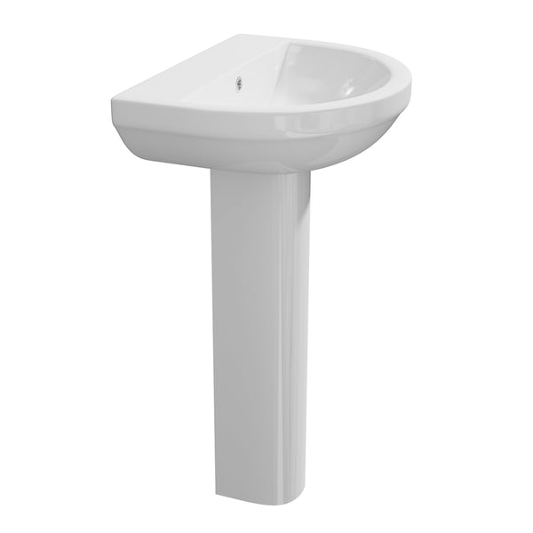 Calm 550mm 1 Tap Hole Basin and Pedestal