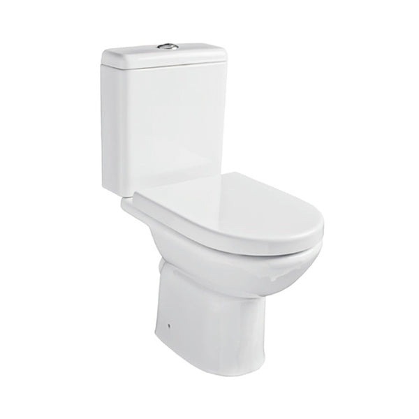 Radiant Close Coupled WC Toilet Pan, Close Coupled Dual Flush Cistern and Soft Close Toilet Seat