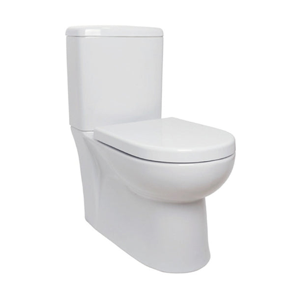 Radiant Close Coupled Back To Wall WC Toilet Pan, Close Coupled Dual Flush Cistern and Soft Close Toilet Seat