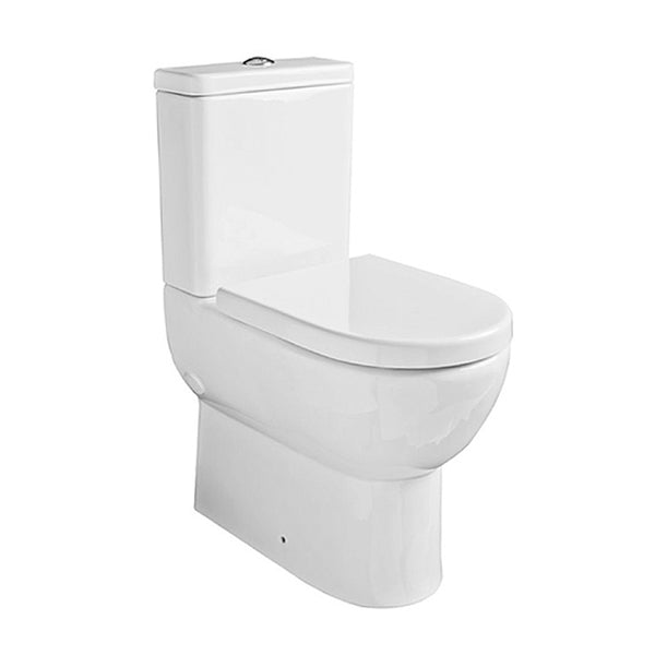Radiant Close Coupled Comfort Height WC Toilet Pan, Close Coupled Dual Flush Cistern and Soft Close Toilet Seat