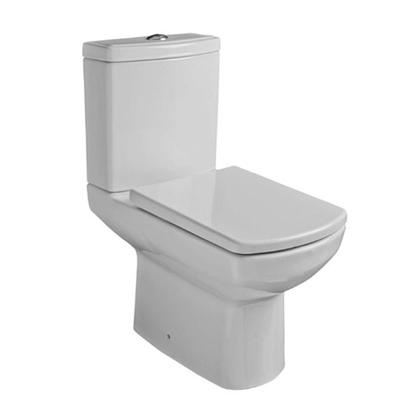 Aspire Close Coupled WC Toilet Pan, Close Coupled Dual Flush Cistern and Soft Close Toilet Seat