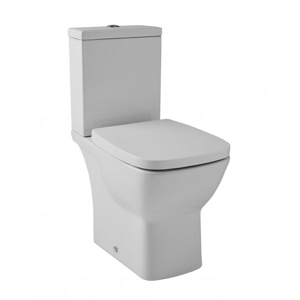 Elated Close Coupled WC Toilet Pan, Close Coupled Dual Flush Cistern and Soft Close Toilet Seat