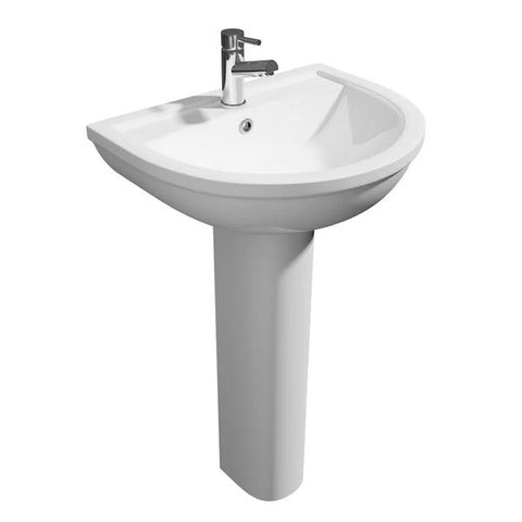 Light 550mm 1 Tap Hole Basin and Pedestal