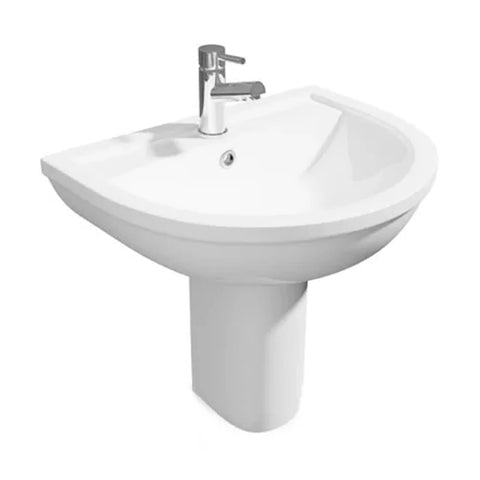Light 550mm 1 Tap Hole Basin and Semi Pedestal
