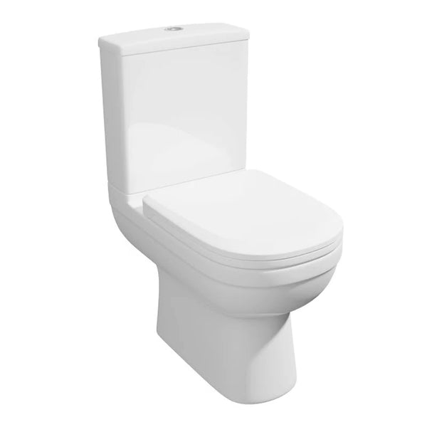 Light Close Coupled WC Toilet Pan, Close Coupled Dual Flush Cistern and Soft Close Toilet Seat