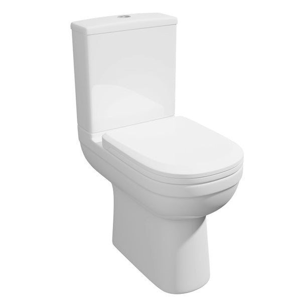 Light Close Coupled Comfort Height WC Toilet Pan, Close Coupled Dual Flush Cistern and Soft Close Toilet Seat