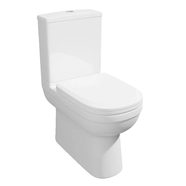 Light Close Coupled Back To Wall WC Toilet Pan, Close Coupled Dual Flush Cistern and Soft Close Toilet Seat