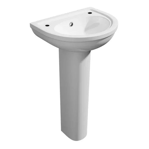 Light 450mm 2 Tap Hole Basin and Pedestal