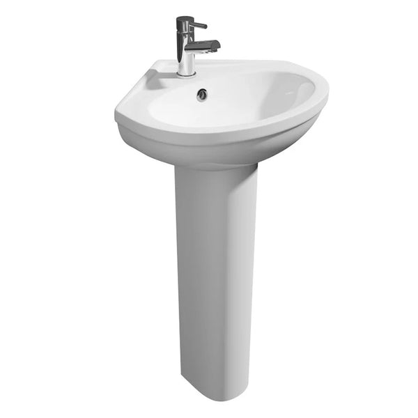 Light 480mm 1 Tap Hole Corner Basin and Pedestal