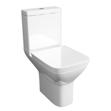 Flair Close Coupled WC Toilet Pan, Close Coupled Dual Flush Cistern and Soft Close Toilet Seat