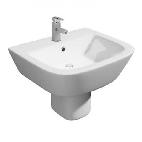 Happy 530mm 1 Tap Hole Basin and Semi Pedestal