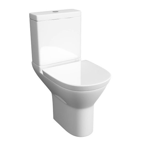 Happy Close Coupled WC Toilet Pan, Close Coupled Dual Flush Cistern and Soft Close Toilet Seat