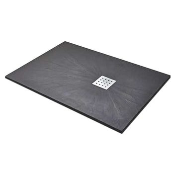Power 1600mm x 800mm Rectangle Slate Shower Tray - Black
