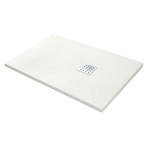 Power 1400mm x 900mm Rectangle Slate Shower Tray - White