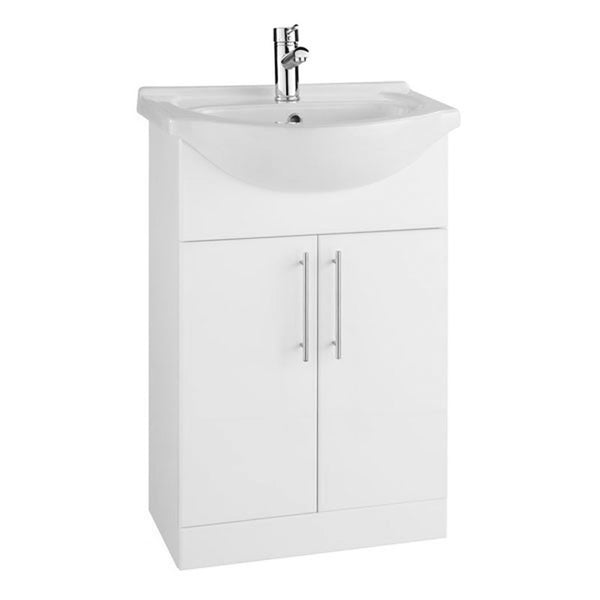 Innovate 550mm Floor Standing 2 Door Bathroom Vanity Unit and Basin - White