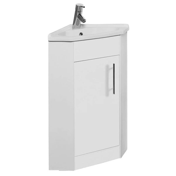 Innovate Corner Cloakroom Floor Standing 1 Door Bathroom Vanity Unit and Basin - White