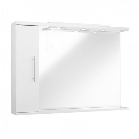 Innovate 1050mm Bathroom Mirror with Left Hand Side Cabinet and Lights - White