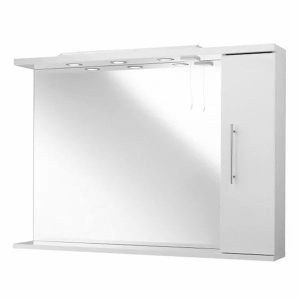 Innovate 850mm Bathroom Mirror with Right Hand Side Cabinet and Lights - White
