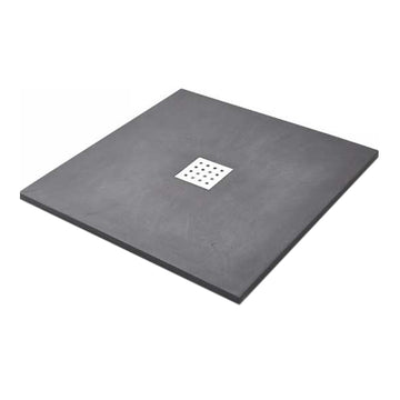 Power 800mm Square Slate Shower Tray - Graphite