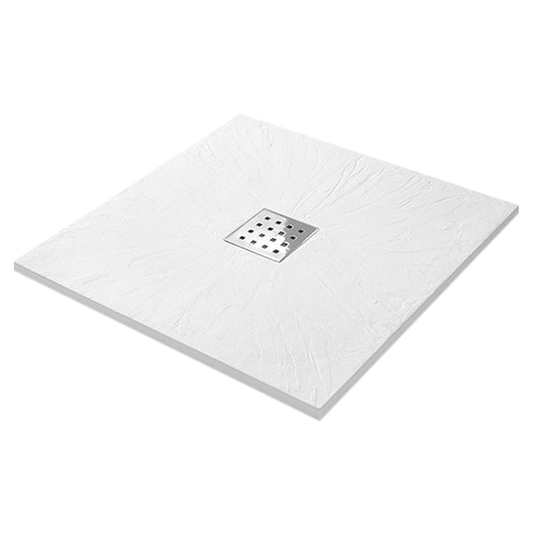 Power 800mm Square Slate Shower Tray - White