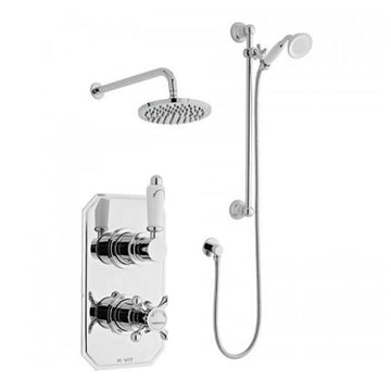 Vibrant Thermostatic Concealed Shower Valve with Adjustable Slide Rail Kit and Overhead Drencher Style Shower Head
