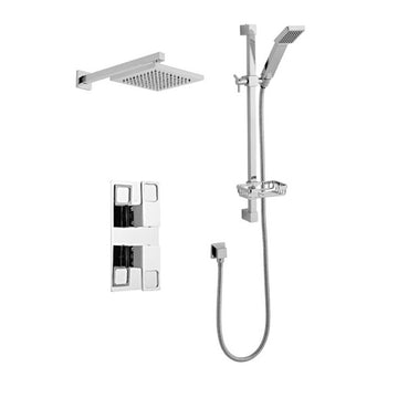 Kind Thermostatic Concealed Shower Valve with Adjustable Slide Rail Kit and Overhead Drencher Style Shower Head